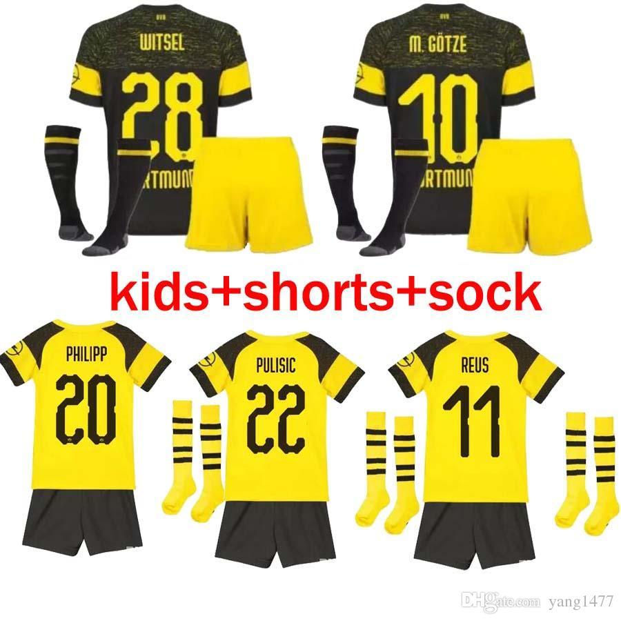 quality design 9f803 bb218 Top Thailand KIDS SOCCER JERSEY BVB Borussia Dortmund 18 19 M.GOTZE REUS  PULISIC SANCHO 2019 Football kit boys youth children uniform sets