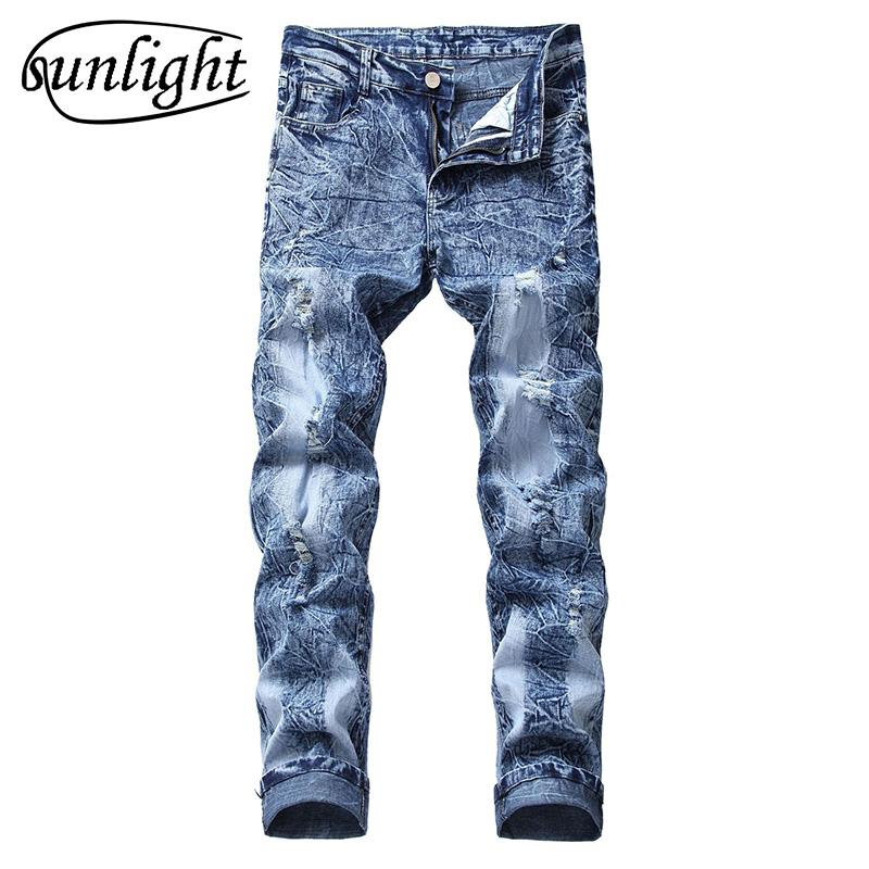 Strappati Vintage Slim Acquista Jeans Fit Uomo Pantaloni Moda Da aqWYBwHE