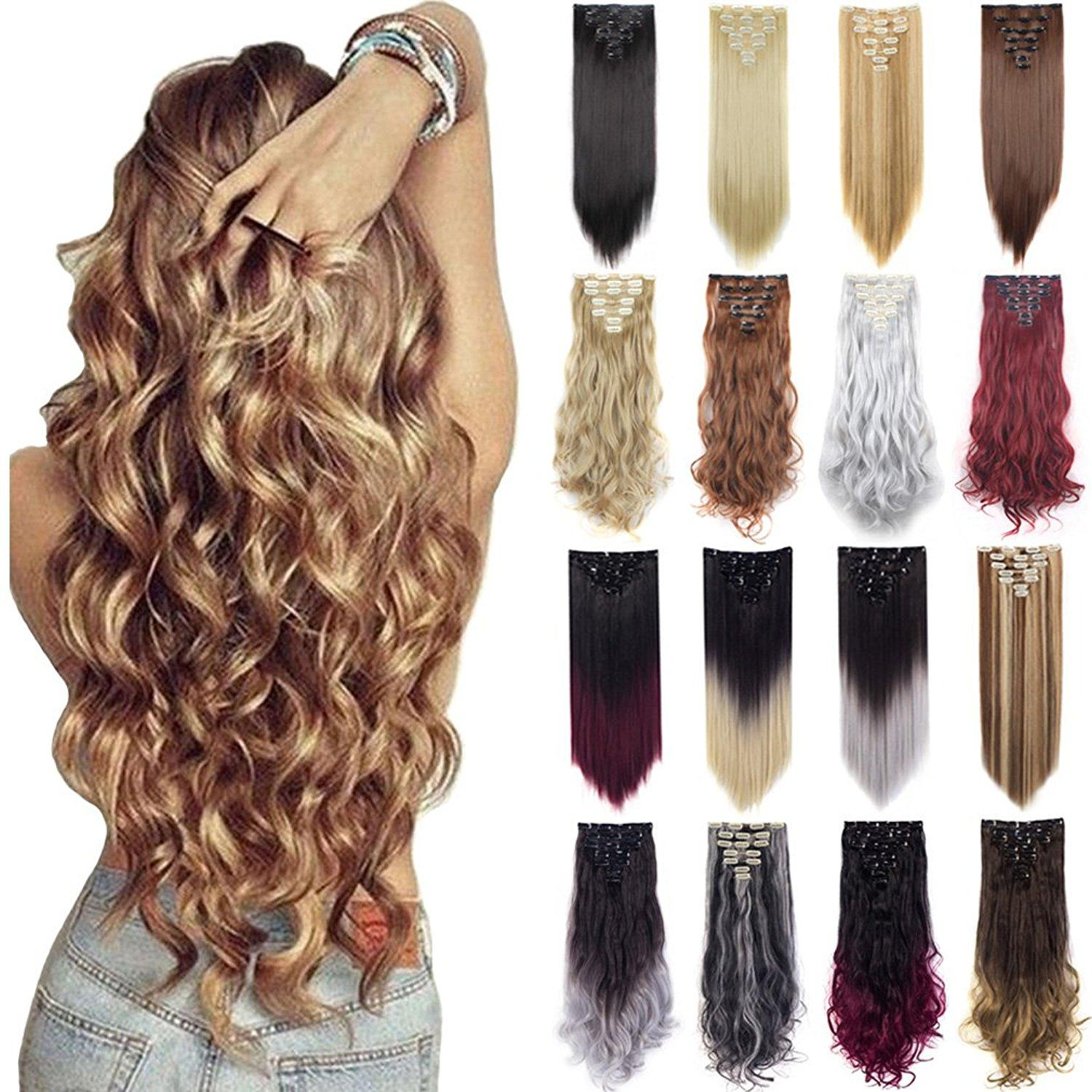 High Quality Synthetic Full Head Hair Extensions Double Weft Clip In