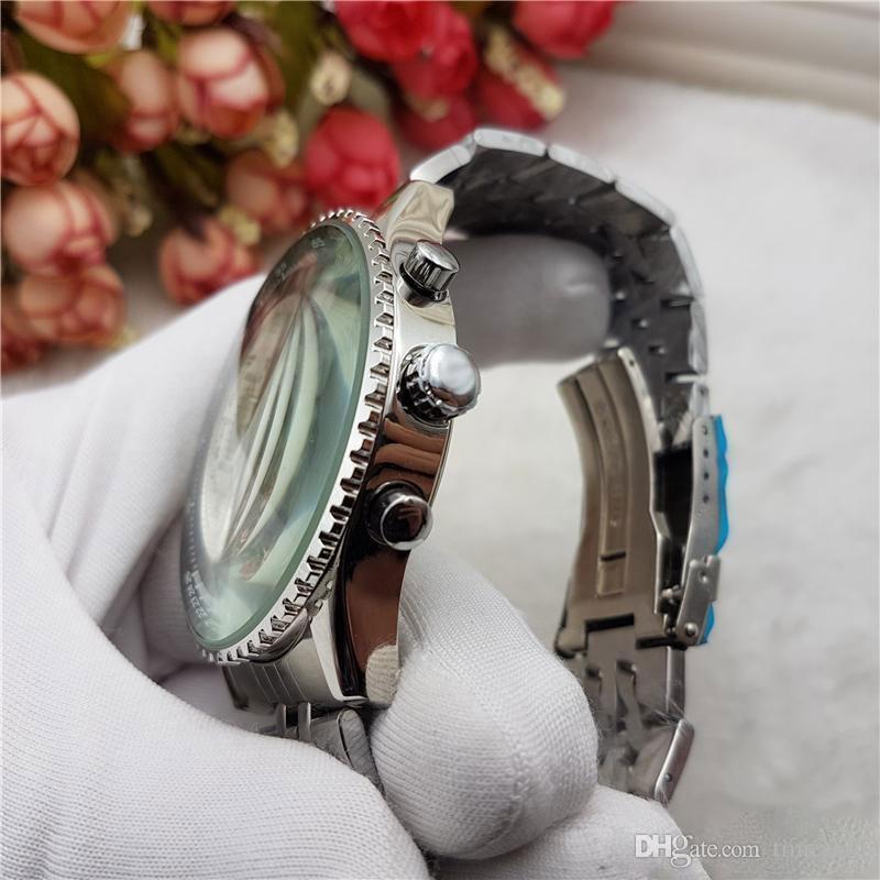 2018 뜨거운 3 다이얼 작업 쿼츠 시계 탑 망가죽 가죽 크로노 그래프 손목 시계 스테인레스 스틸 클래식 파일럿 Relogio Relojes