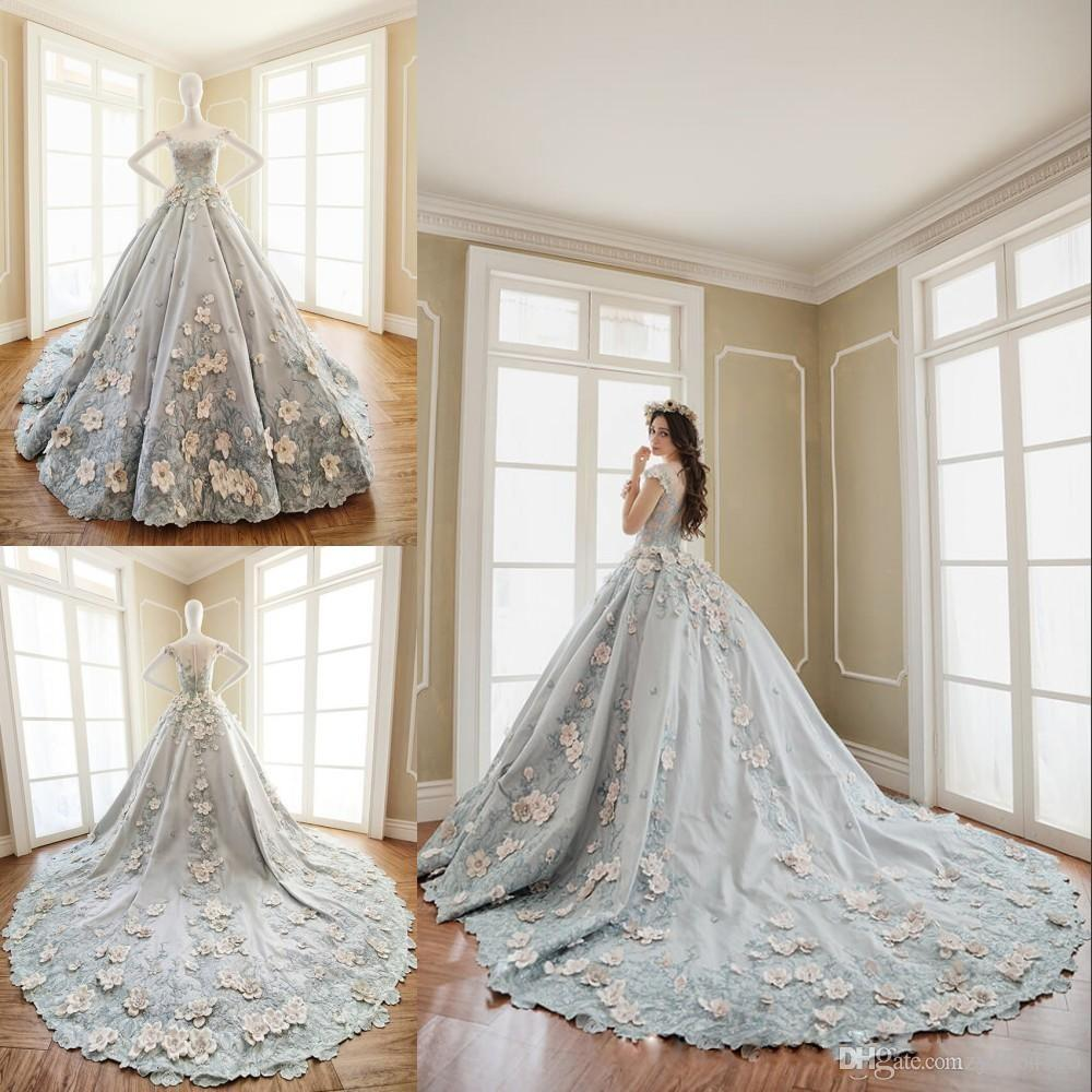 2019 Luxury Embroidery Princess Wedding Dresses Glamorous Jewel Beaed Short Sleeves Elegant Handmade Flowers Stylish Bridal gowns
