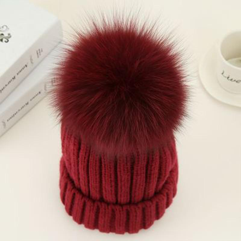 be2174559b6 2019 2018 Mink And Fox Fur Pom Poms Winter Hat For Women Girl  S Hat  Knitted Beanies Cap Real Fur Ball Cap Brand New Thick Female From  Miaoshakuai