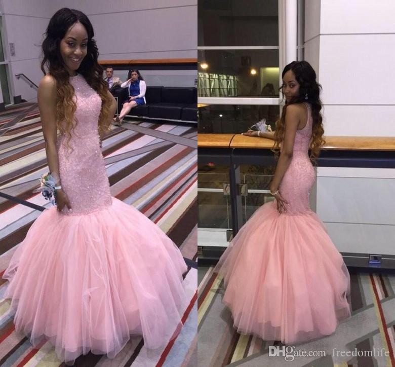 d88aec9ea 2018 Elegant Pink Long Juniors Prom Dresses Jewel Neck Sleeveless Floor  Length Beading Tulle Evening Dresses Mermaid Pageant Prom Dress Prom Prom  Dresses ...