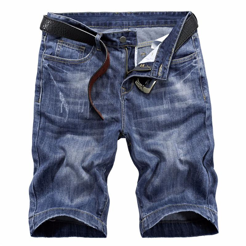 576608d69ef7 Wholesale New Fashion Men Scratched Short Jeans Washed Blue Straight ...