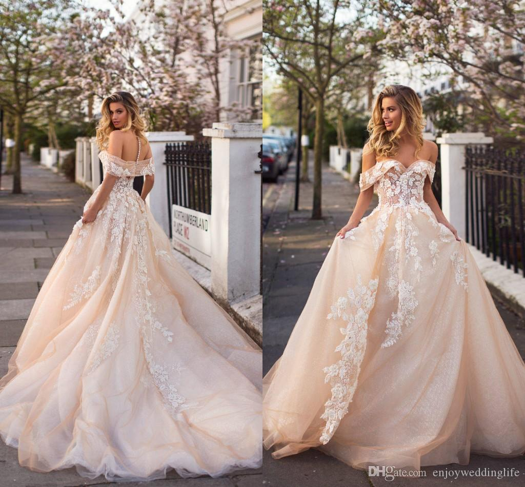 Discount 2019 Milla Nova Champagne Elegant New Wedding Dresses Sheer ...
