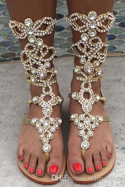 Crystal women sandal 2017 fashion summer women shoes Flip Flops sandals rhinestones gladiator sandals women shoes plus size 34-43