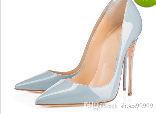 b884edc43ff Red Bottom Ladies Handmade Fashion ASO-kate 120mm Pointed Toe Classic Party  Slim Heel Pumps Stiletto Shoes Light-blue
