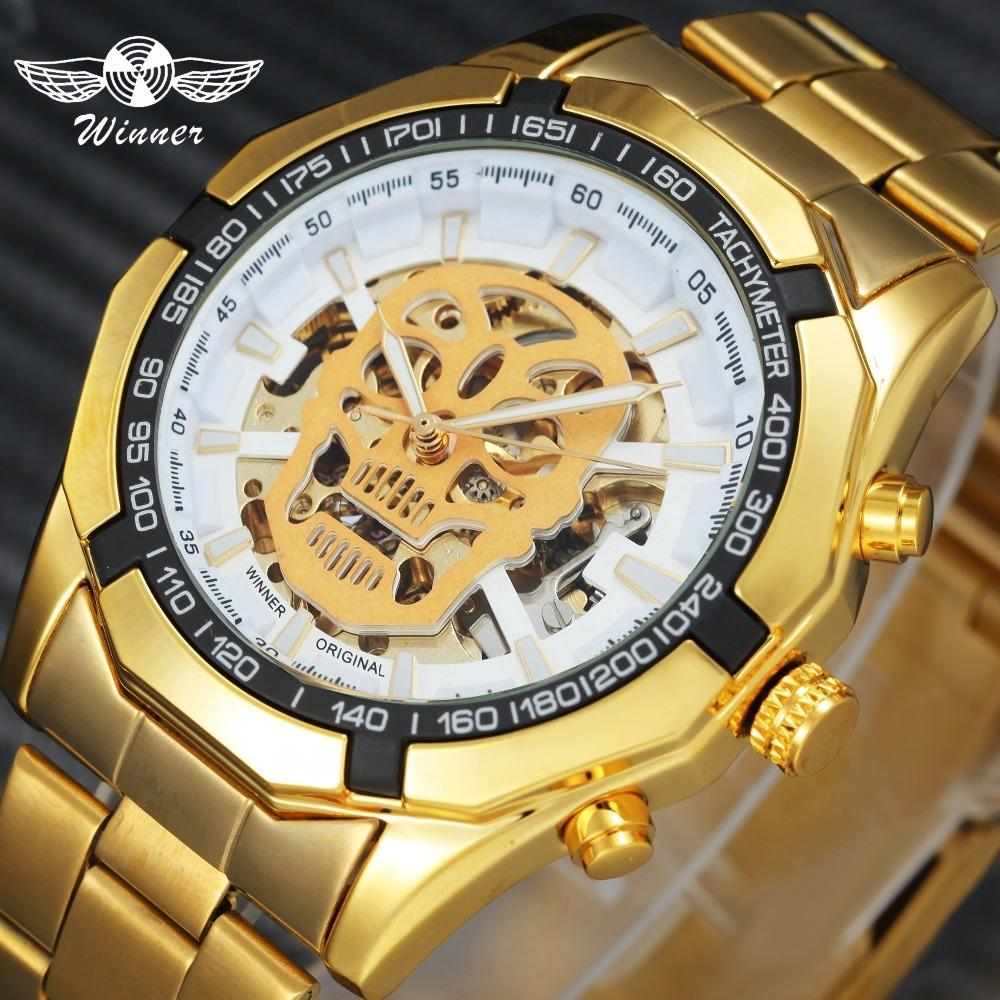 c8386ade772 WINNER Mens Watches Top Brand Luxury Auto Mechanical Watch Golden Stainless  Steel Strap Skull Skeleton Dial Fashion Wristwatch D18100706 Watches For  Less ...