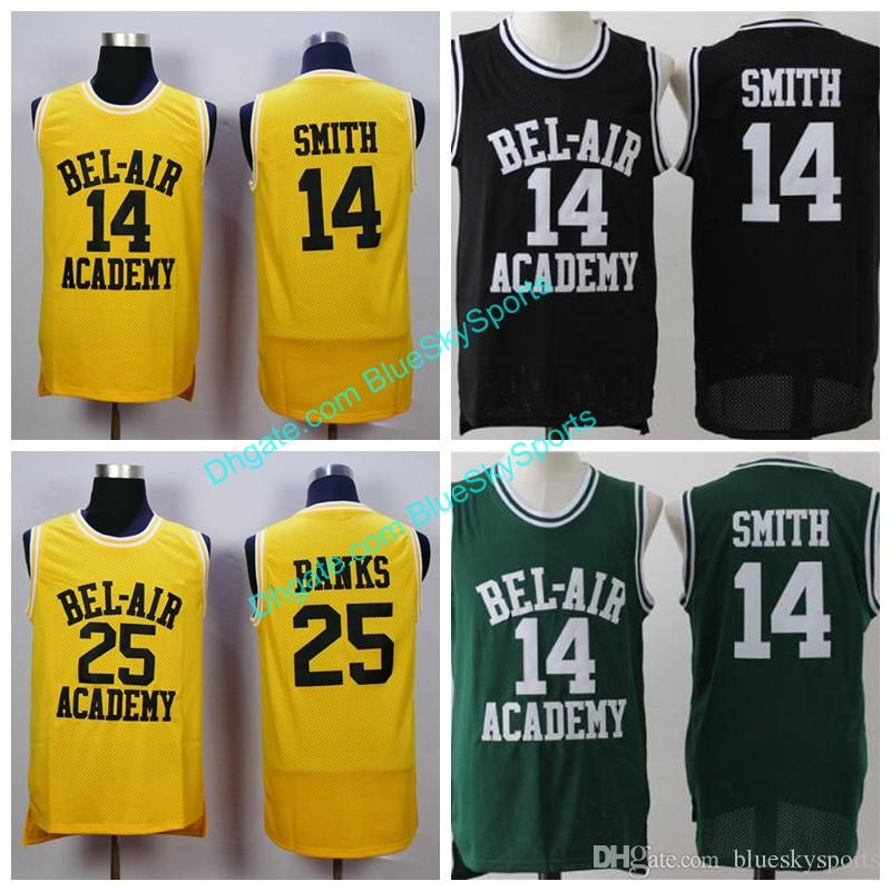 6adff30818e 2019 Will Smith  14 Bel Air Academy Jersey  25 Carlton Banks Basketball  Jerseys Stitched Movie Basketball Shirt White Yellow Black From  Blueskysports
