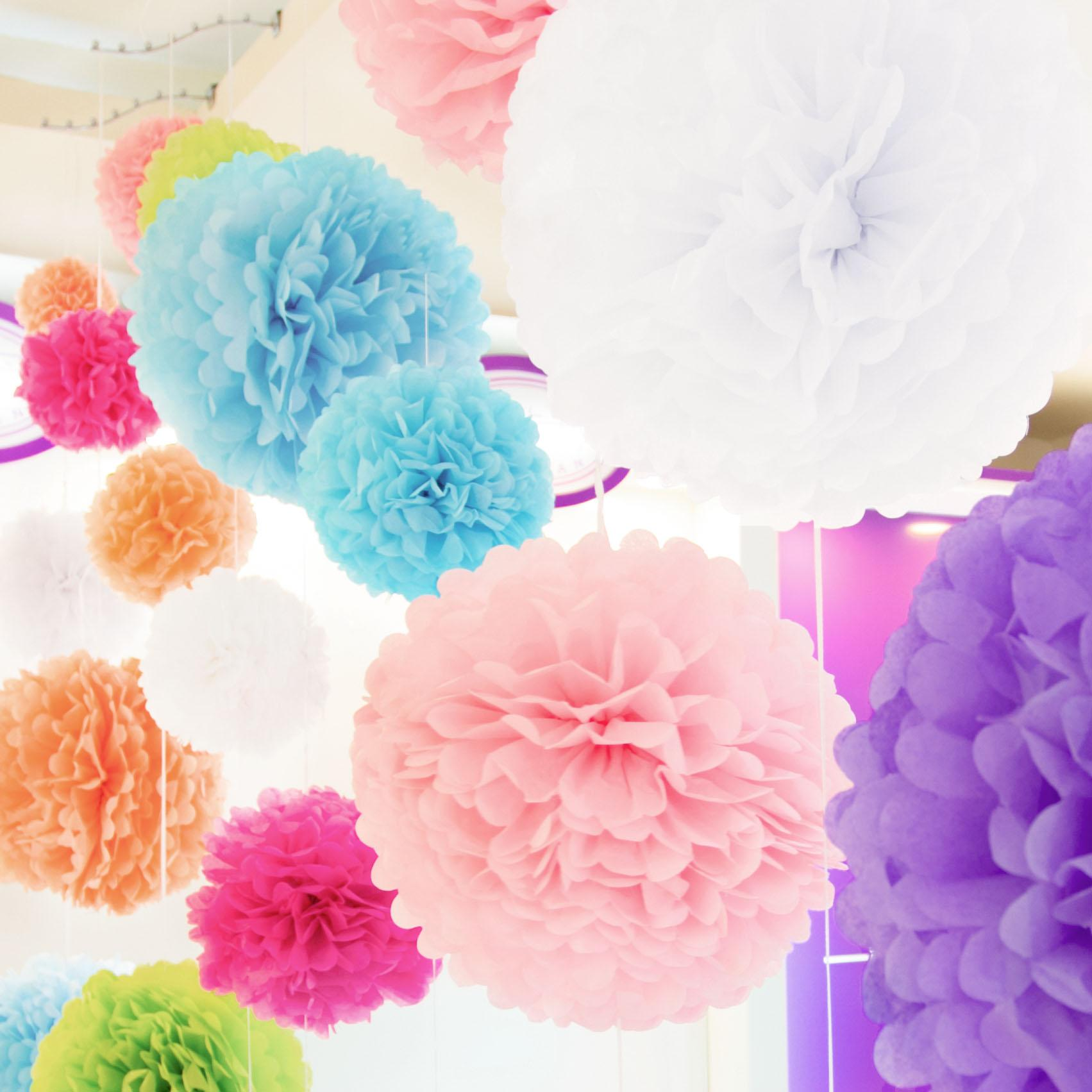 Tissue Paper Pom Poms Flower Ball Wedding Party Birthday Decor 6