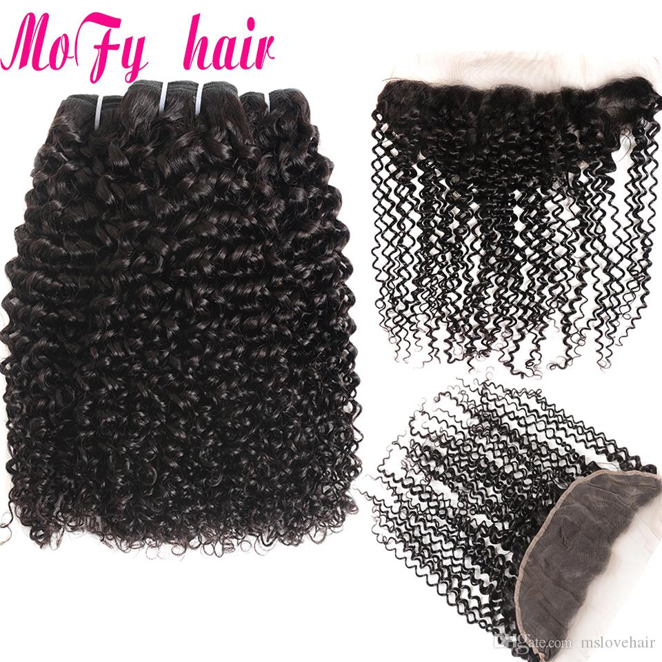 Brazilian Hair Weave 3 Bundles With Closure Afro Kinky Curly Human Hair Bundles With Lace Frontal Closure Non Remy Kinky Curly