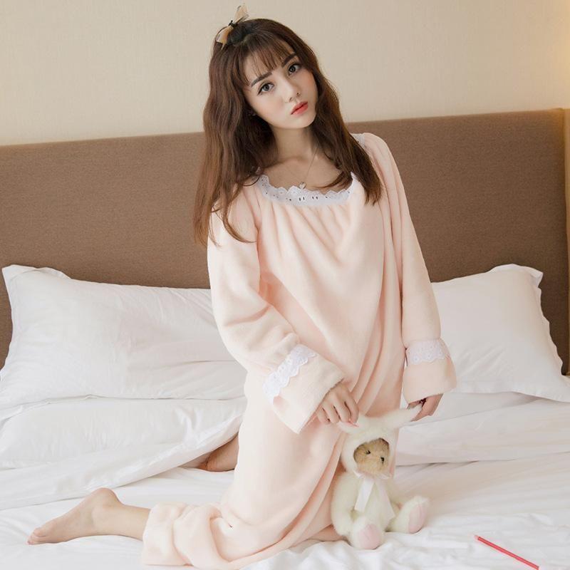 f748dd9db7 2017 Autumn Winter Flannel Princess Nightgowns Women Casual Homewear Warm  Soft Comfortable Sleep Dresses Ruffles Sleepwear Sleepshirts Dress For A  Party ...