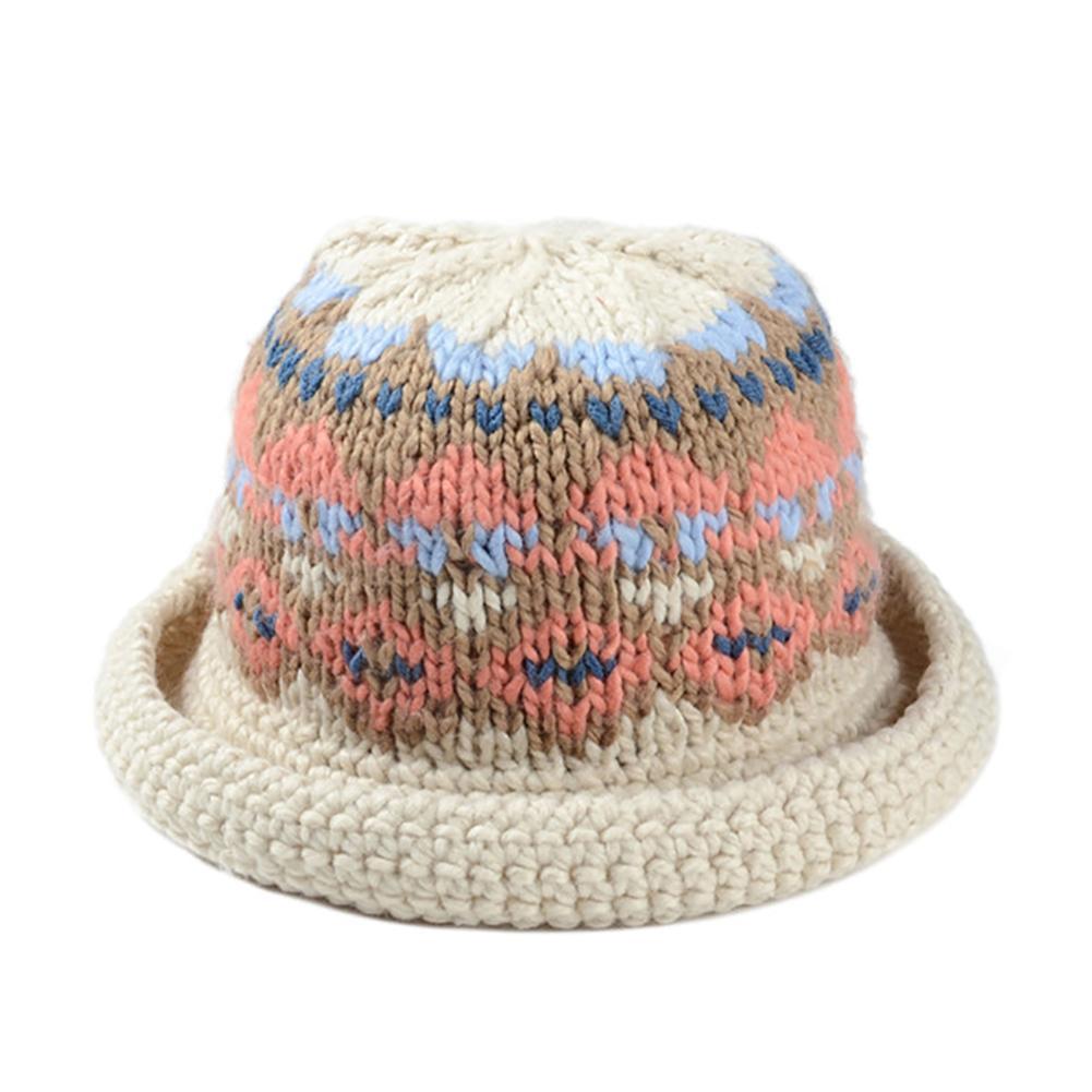 Women Winter Vintage Pattern Handmade Warm Knitted Hat Brim Foldable Bucket  Hat Fedora Hats Visor Hats From Playnice b1b9a31de9