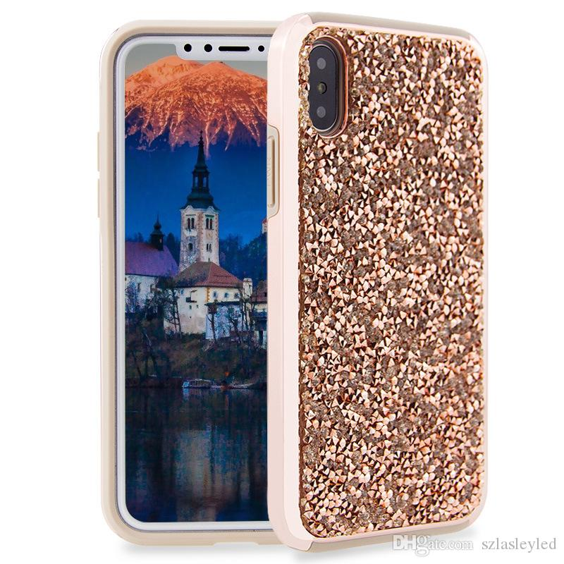 hot sale cell phone case glittering rhinestone back cover full protection tpu pc 2 in 1 hybrid case for iphone X 6 7 8 plus