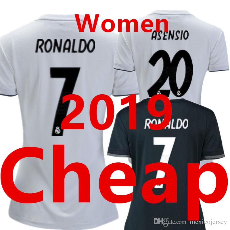 8a8083351 Soccer Jersey Real Madrid Women 2019 Home White Ladies 2018 Female Away  Black 18 19 Girls Camiseta Mujer Futbol Camisa Mulher Football Shirt