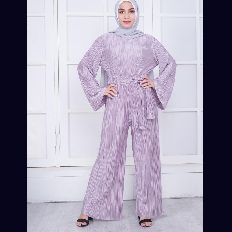 Plus Size 2018 Abaya African Kimonos muslimischen Bell Maxi Plissee Wide Leg Strampler Womens Jumpsuit Dubai türkische islamische Kleidung