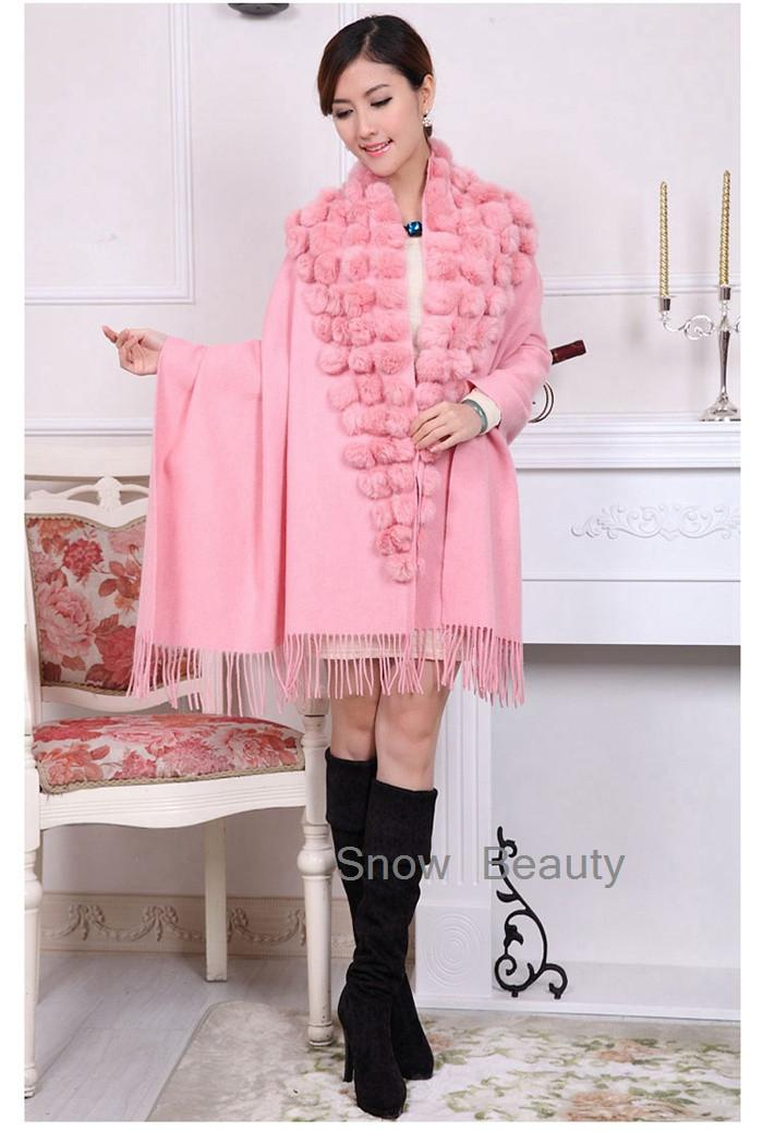 new female scarf shawl pashmina thick winter natural rabbit fur pompom ball cape female muffler christmas gift