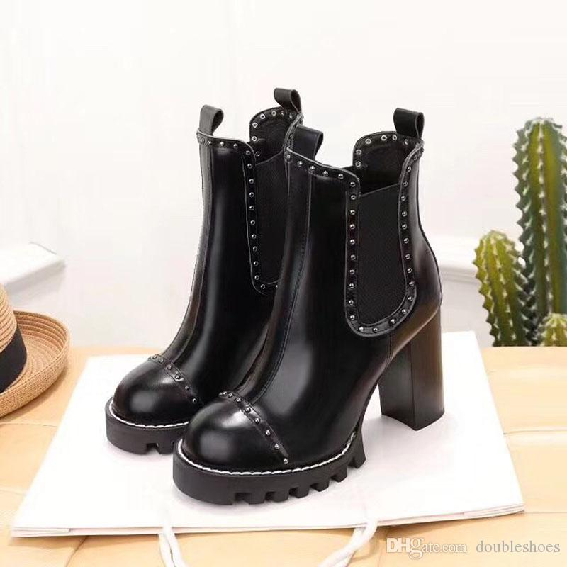 50a1e0be0 Fashion Ladies Winter Boots 2018 New With Height 9.5 Cm Luxury Brand  Leather Rough Heel Martin Boots Lace Up Booties Work Rain Boots High  Slipper Boots ...