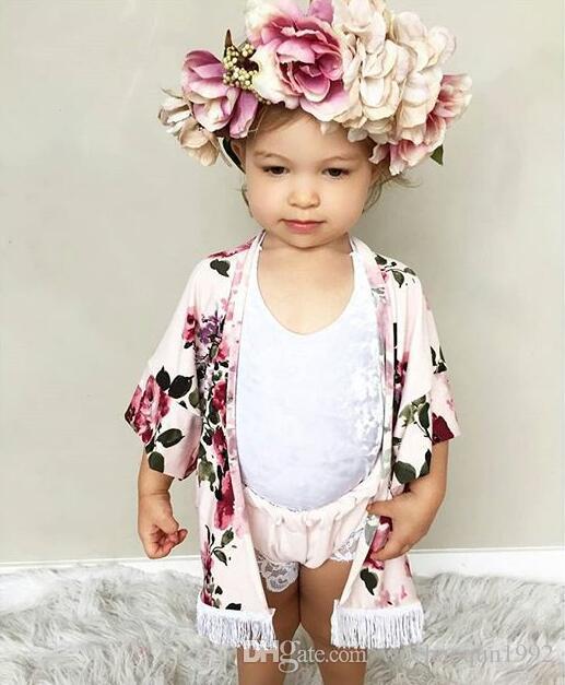 عيد الميلاد ليتل بنات كاملة زهرة طباعة هامش شال الطفل ins لربيع وصيف أبلى أزياء أسود وردي شرابة الأزهار طباعة سترة BY0088