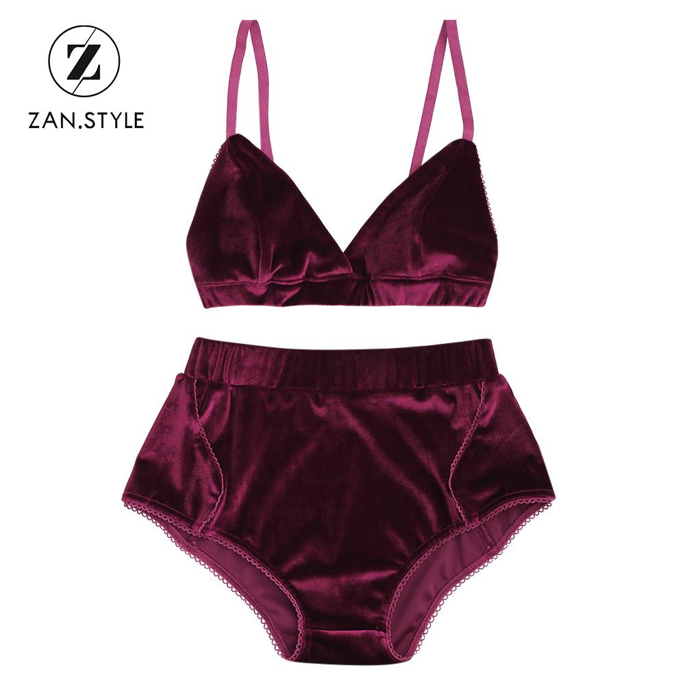 68393518e7b287 2019 ZAN.STYLE Solid Velvet Women Bra Set V Neck Sleeveless Halter Bandage  Cropped Top Elastic High Waist Briefs Shorts Wine Red From Cagney