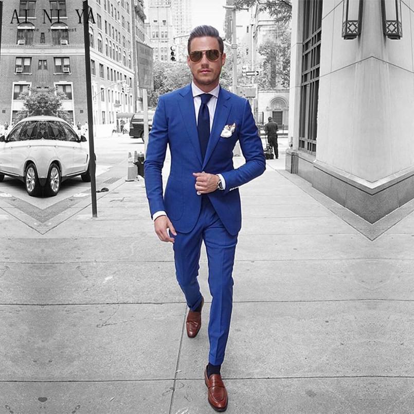 b7978f6d8 Satın Al Yeni Mavi Blazer Resmi Iş Takım Elbise Slim Fit Blazer Erkekler  Suit Erkek Düğün Takımları Groomsmen Smokin Custom Made Ceket + Pantolon,  ...