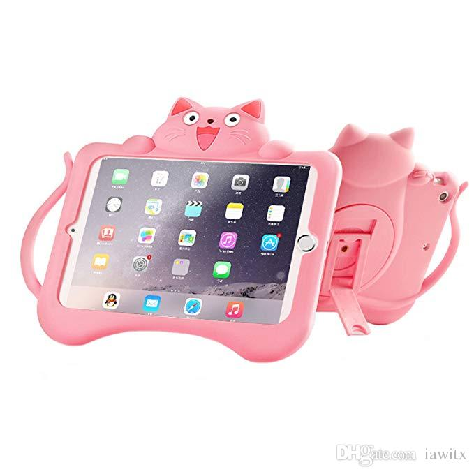 88afcda5ac Cute Cat Apple IPad Pro 9.7 Case Air 2/IPad 6 Case For Kids, 3D Cartoon Cat  360 Rotating Stand Shockproof Soft Case Cover With Handle Holder Bags And  Bags 7 ...