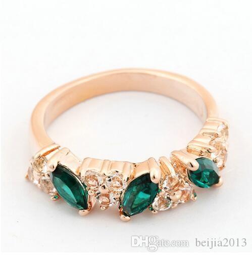 Gioielli di alta qualità Verde TearDrop Crystal donne Anello in oro rosa Colore cristalli austriaci Full Sizes fedi all'ingrosso