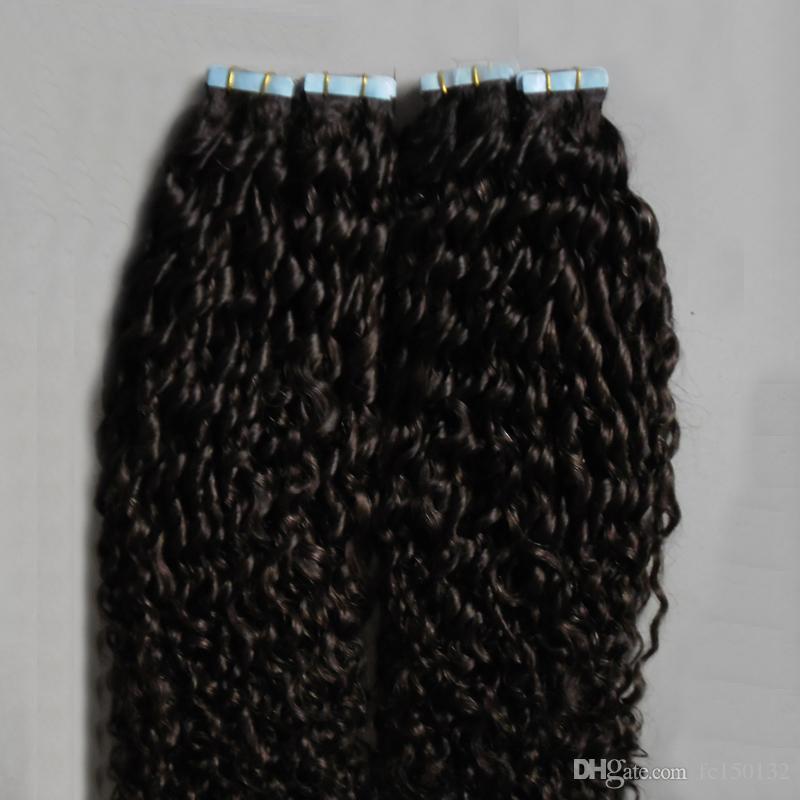 # 2 Pelo rizado mongol mongol oscuro 200G extensiones de cabello con cinta rizada cinta en pelo de extensión rizado