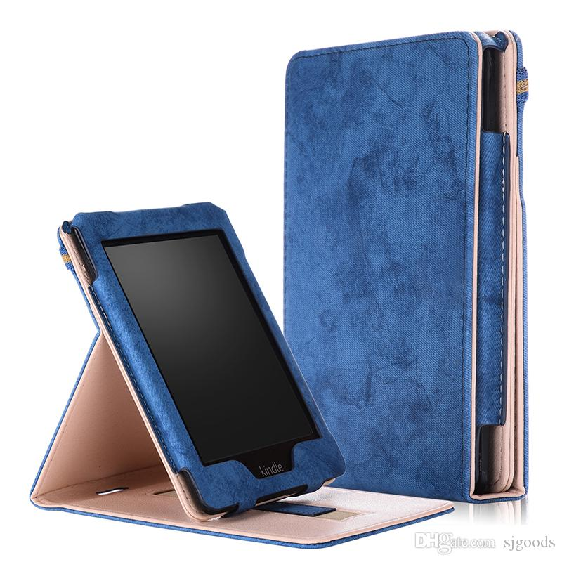 Solid Funda PU Leather Case for Amazon Kindle Paperwhite 1 2 3 Front Holder  Smart Cover for Kindle 958 2015 Stylus