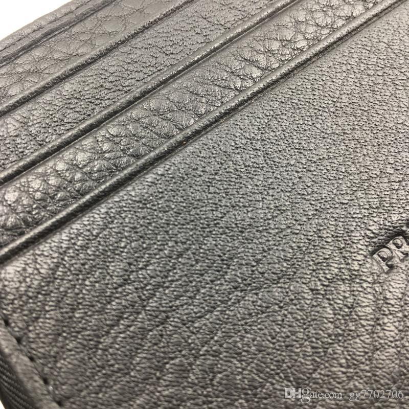 Классический черный натуральная кожа держатель кредитной карты бумажник роскошный бизнес мужчины P металлический зажим для денег кошелек мода ID Card Case монета карманный мешок