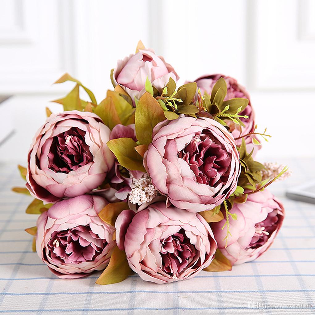 2018 Artificial Silk Peony Bouquets 6 Big Flowers For Wedding Party