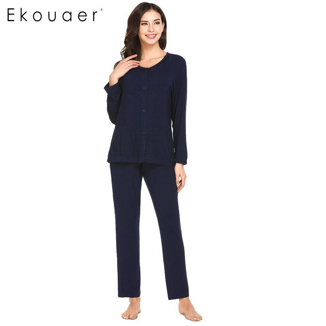cd6f6bc782 2019 Ekouaer Fashion Women Pajamas Soft Sleepwear V Neck Long Sleeve Button  Down Top And Pants Pajama Set Breathable Pyjamas D18110502 From Shen8403