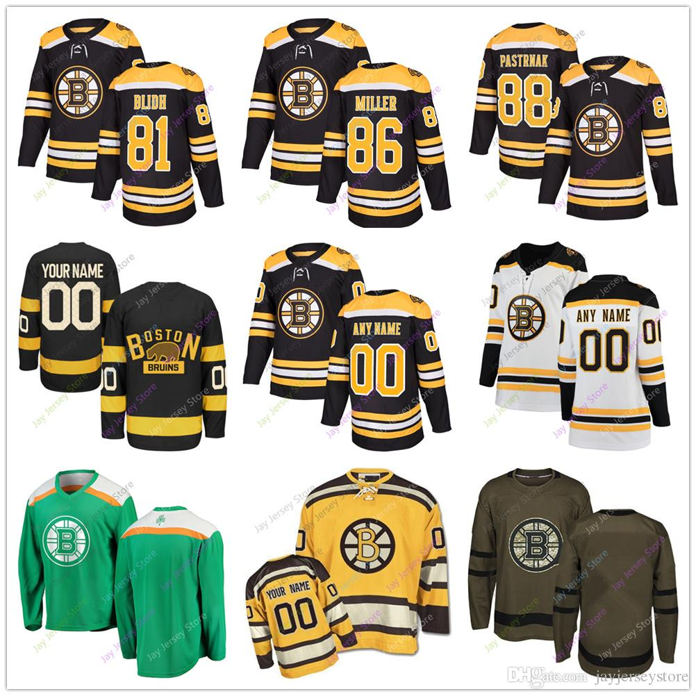 another chance 22e8a 06a75 81 Anton Blidh 86 Kevan Miller 88 David Pastrnak Jersey 2019 Men Women  Youth Winter Classic Boston Bruins Salute to Service