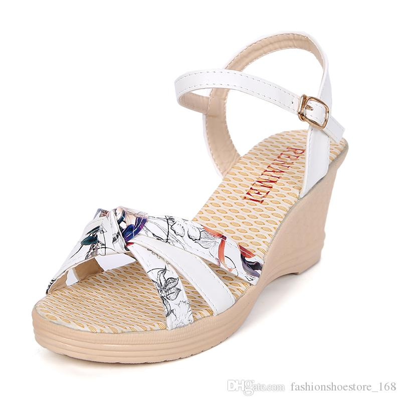 00226c8e5879 Shoes Woman Wdges Shoes For Women Summer Platform Flat Ladies Sandals High  Heels Sandals Shoes Strappy Heels Sandalias Mujer 2018 Nouveau Wedge Heels  Pink ...