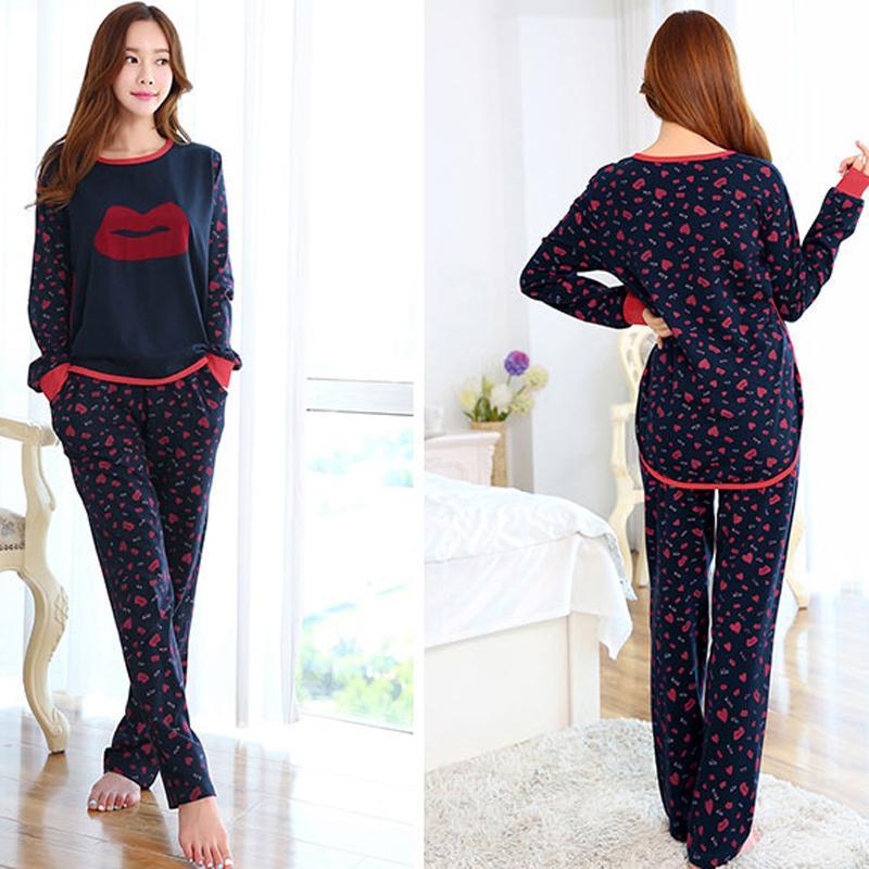 2018 Women Cotton Nightgowns Print Sleepwear Night Gowns Cotton ...