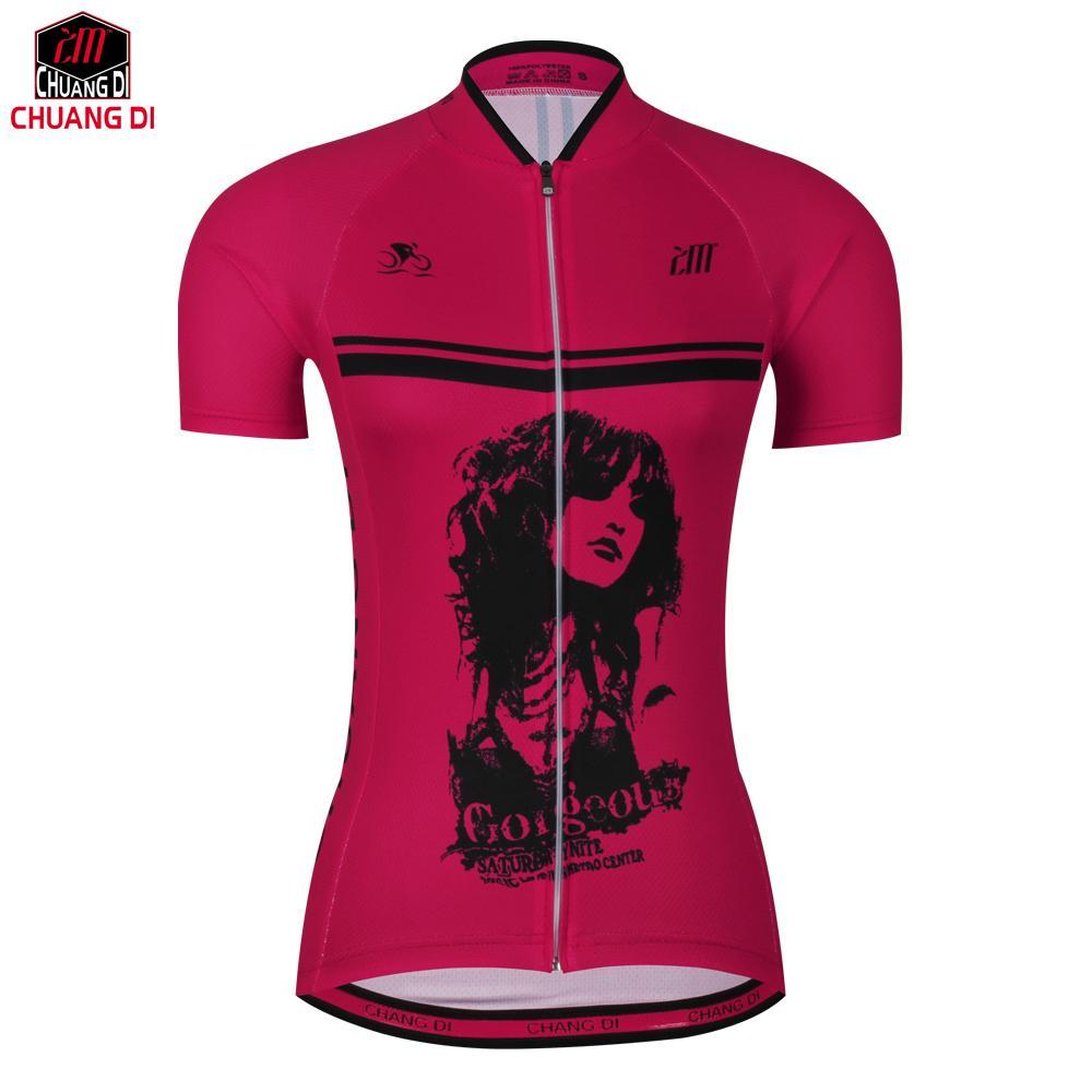 3b45f7538b Camiseta De Ciclismo Para Mujer De Manga Corta Mtb Road Bike Personalidad  De La Bicicleta Rosa Chica Mala Jersey Transpirable Secado Rápido Pro  Cycling Por ...