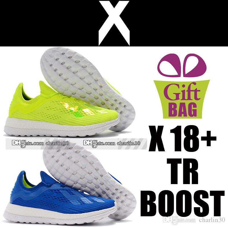 New Original X 18 TR Boost Soccer Boots Trainers Socks Football Boots Blue Green Mens Training Soccer Cleats Soccer Shoes Boots Size 39-46