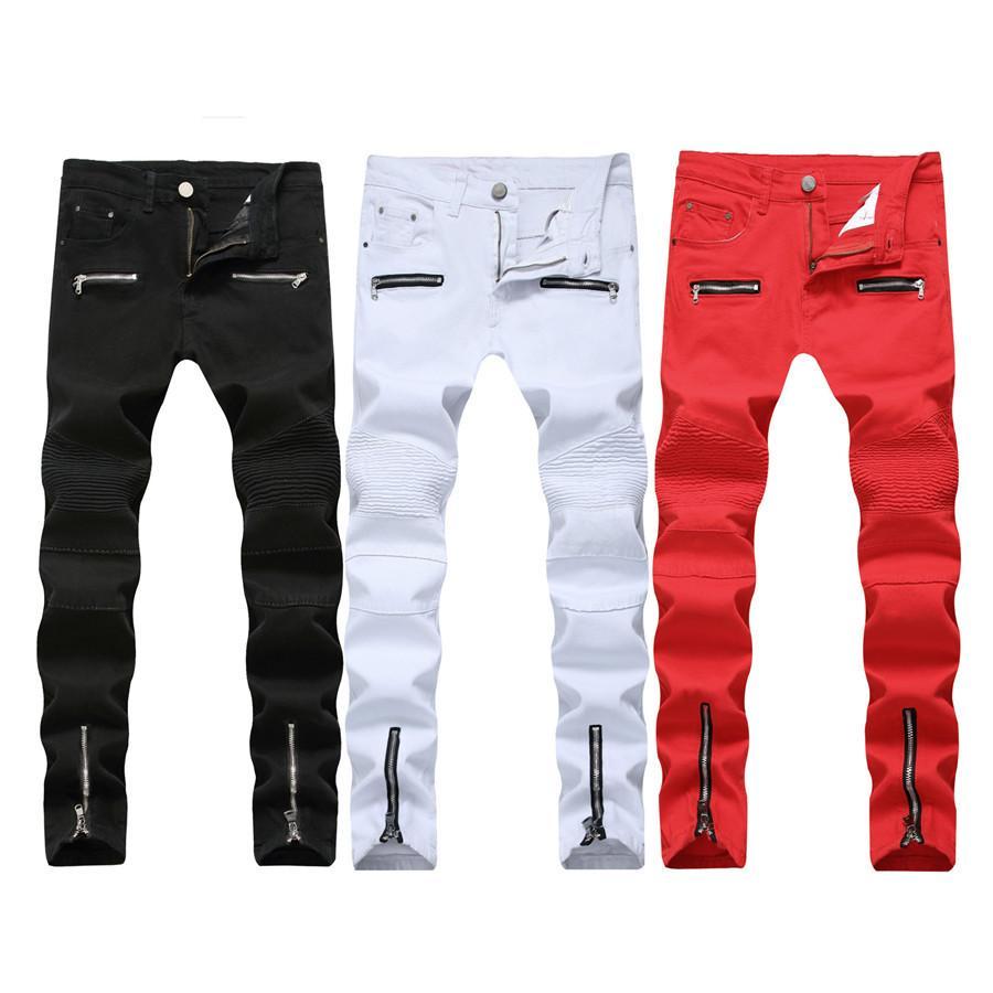 cba8842676be Großhandel 2018 New Skinny Biker Jeans Herren Motorrad Stretch Cargo Denim  Jeans Mit Reißverschluss Plissee Slim Jean Herren Plus Größe 40 42 Hosen  Y1892602 ...