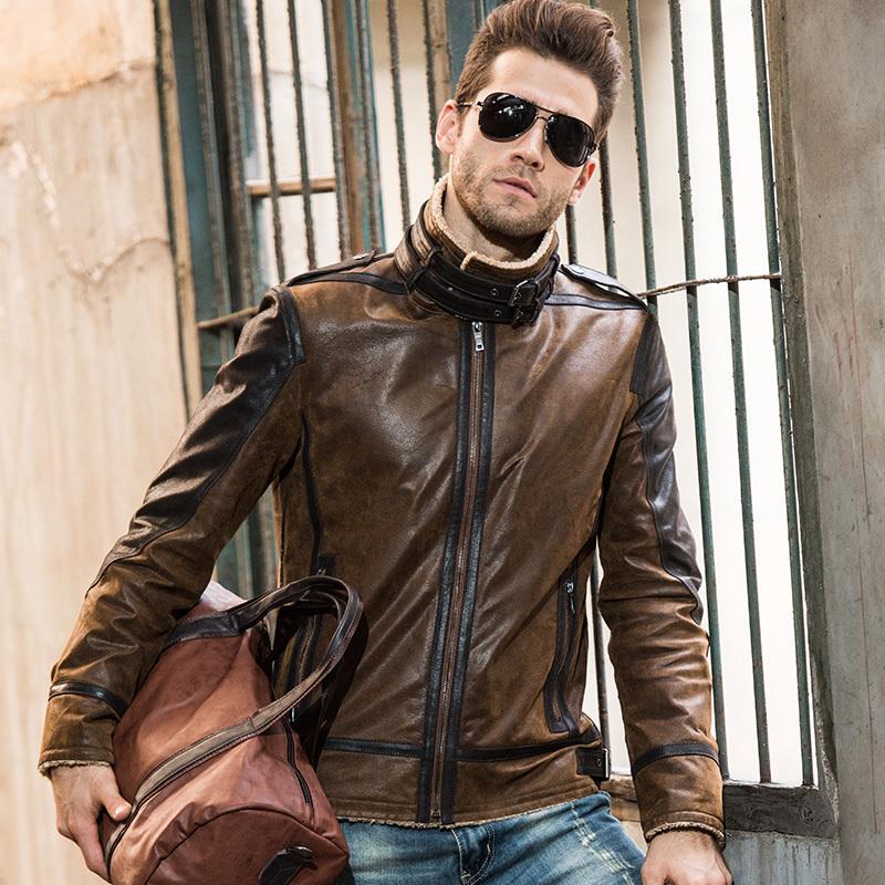 Acheter 2016 Hommes En Cuir Véritable Veste En Peau De Porc Vintage  Véritable En Cuir Veste Hommes Double Face Fourrure En Cuir Manteau Veste  De Moto ... 4bbfb97ccb3