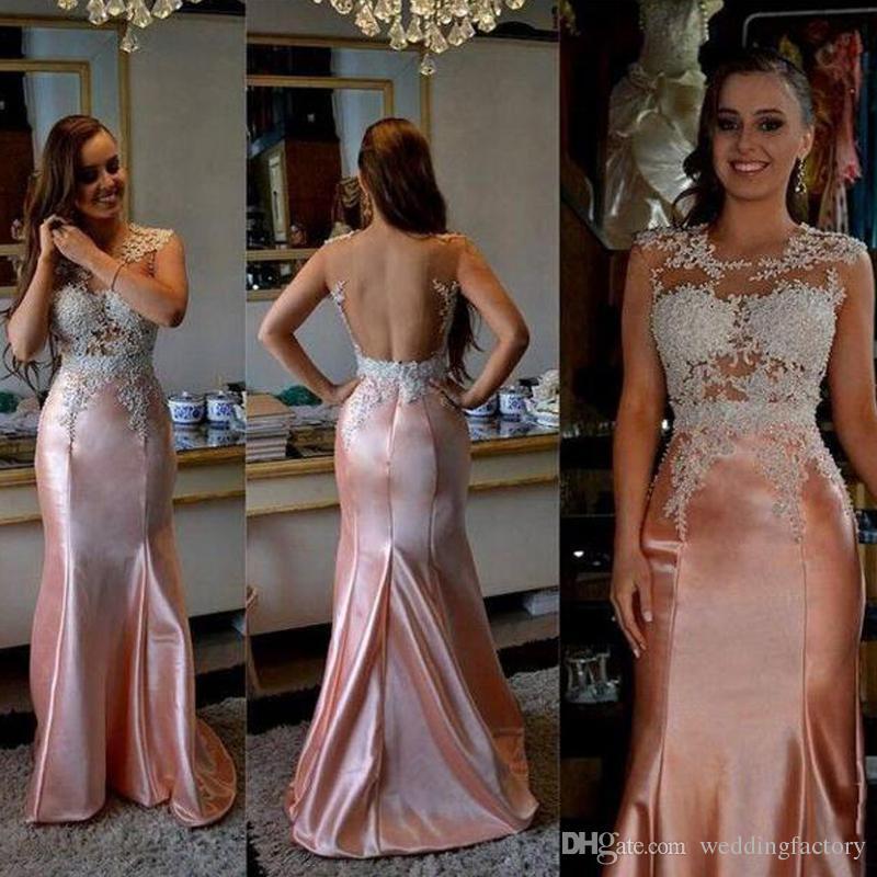 2019 Sexy Prom Dresses Sheer Jewel Neck Sleeveless See