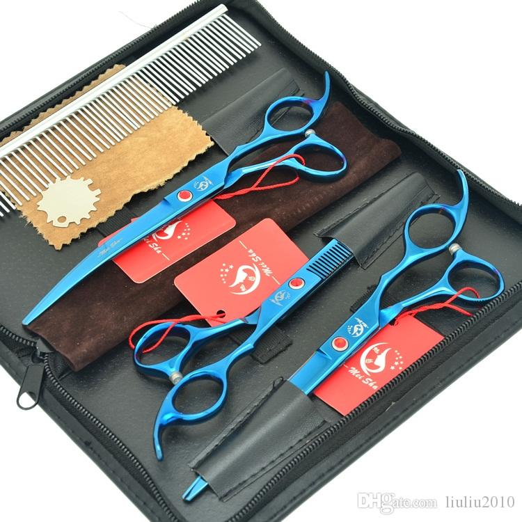 7.0 Pouces Meisha Japon 440 C Pet Ciseaux Chien Toilettage Ciseaux Bleu Professionnel Amincissement Tijeras Chiot Chat Beauté Outils de Coiffure HB0120