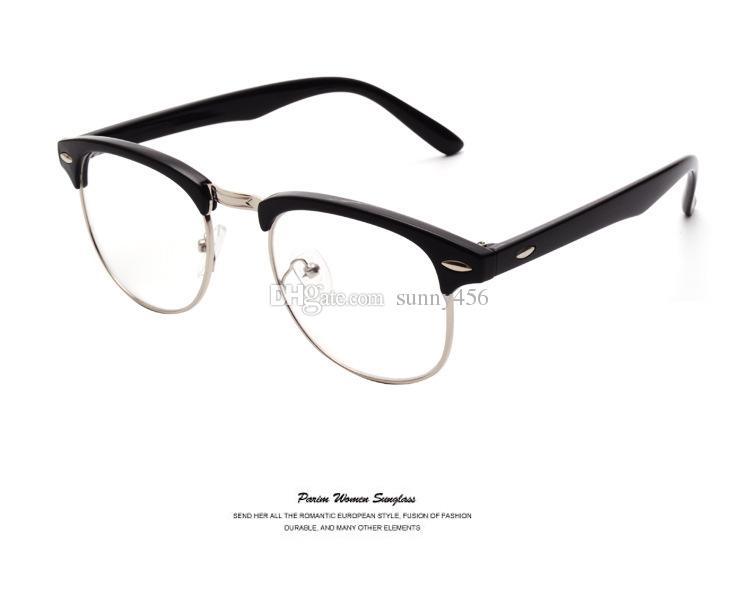 43587a8c677e Classic Retro Clear Lens Nerd Frames Glasses Fashion Brand Designer Men  Women Eyeglasses Vintage Half Metal Eyewear Frame Clear Glasses Frames  Eyeglasses ...