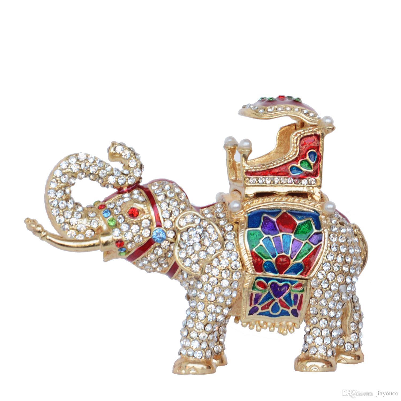 Faberge Elephant Trinket Schmuckschatulle handgemachte Kristall Bejeweled Sammlerstück Figur Geschenke Schmuck Container Ring Box