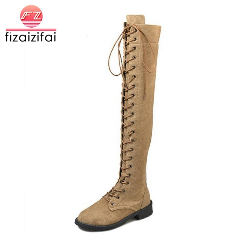 outlet store 1ea6f e04ee FizaiZifai Größe 34-43 Frauen Overknee Stiefel Damenschuhe Winter Lange  Stiefel Zipper Round Toe Fashion Punk Damen Schuhe