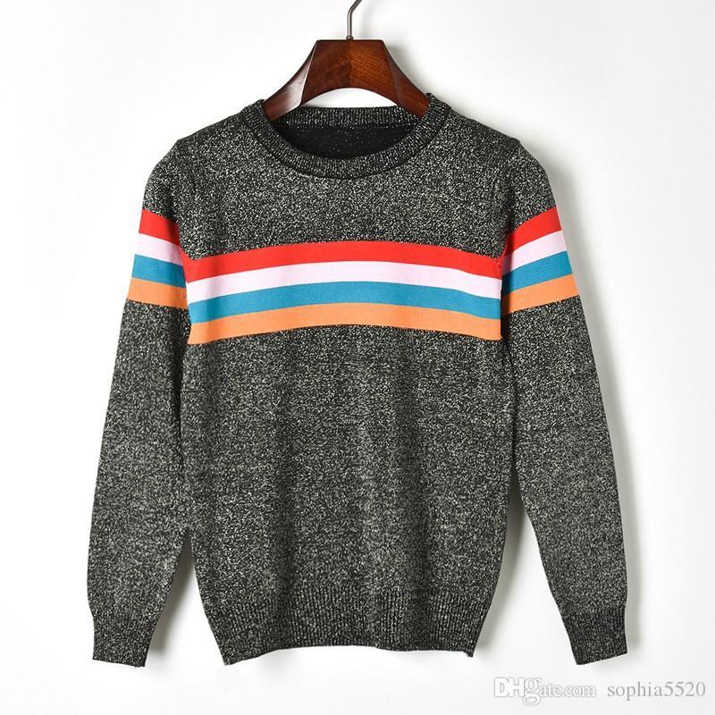 321317065d 2018 autunno e inverno nuovo stile colorato striscia di seta brillante filo  d argento maglione maglia di supporto camicia girocollo maglia maglia ...