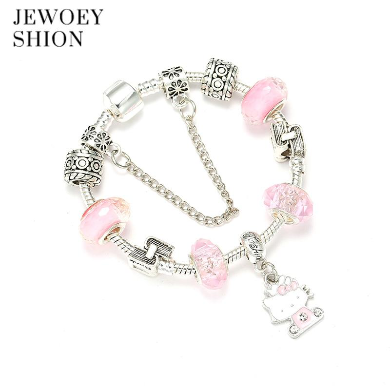 9a3980a25 JEWOEY SHION Children Fashion Cartoon Jewelry Cute Hello Kitty Pendant  Crystal Exquisite DIY Pan Charm Bracelet For Women Grandmother Charm  Bracelet Build ...