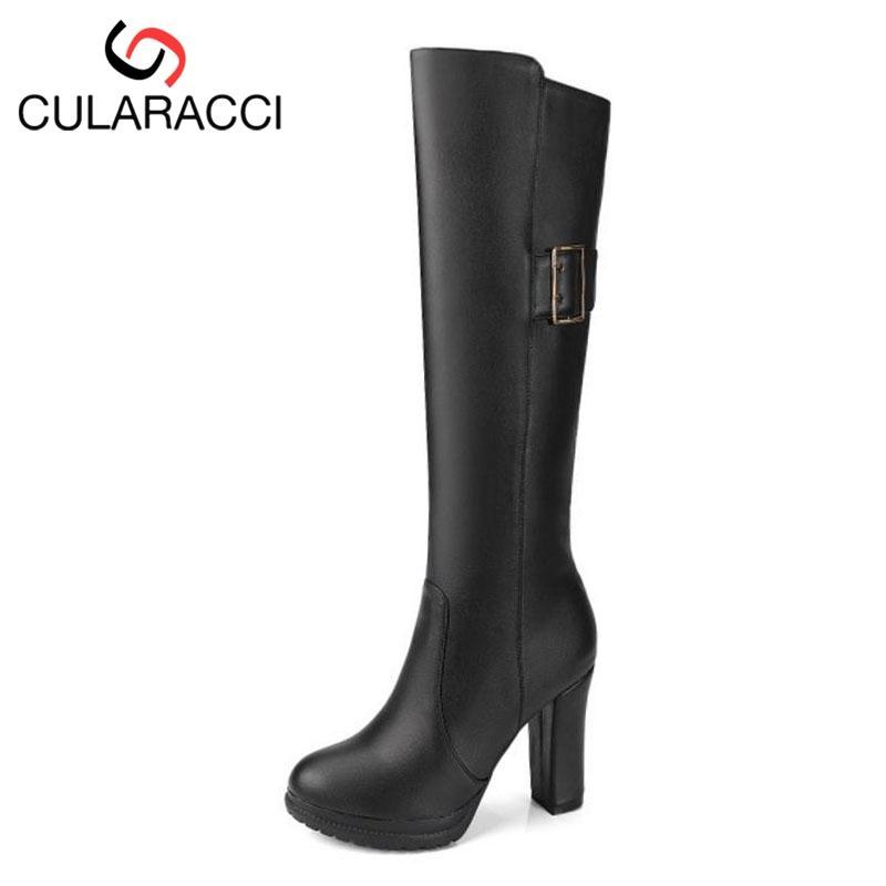 huge selection of d1e6a 327ee CULARACCI Plus Größe 33-46 Frauen High Heel Stiefel Pelz Winterschuhe  Kniehohe Stiefel Plattform Metall Schnalle Frau Schuhe