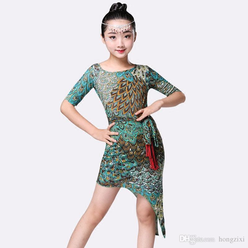 64bebf537 kids youth girls students Meisjes ice silk thin slim green Peacock latine latin  dance danse dresses jurk for children's day performance
