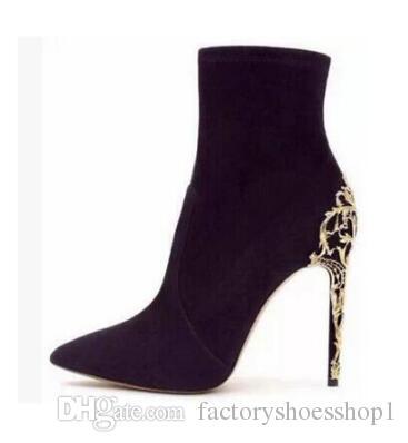 Botas elásticas de gamuza de las nuevas mujeres 2018 Botas altas del muslo delgadas Botas altas de la rodilla Tacones de aguja atractivas Botas de los altos talones del dedo del pie puntiagudo