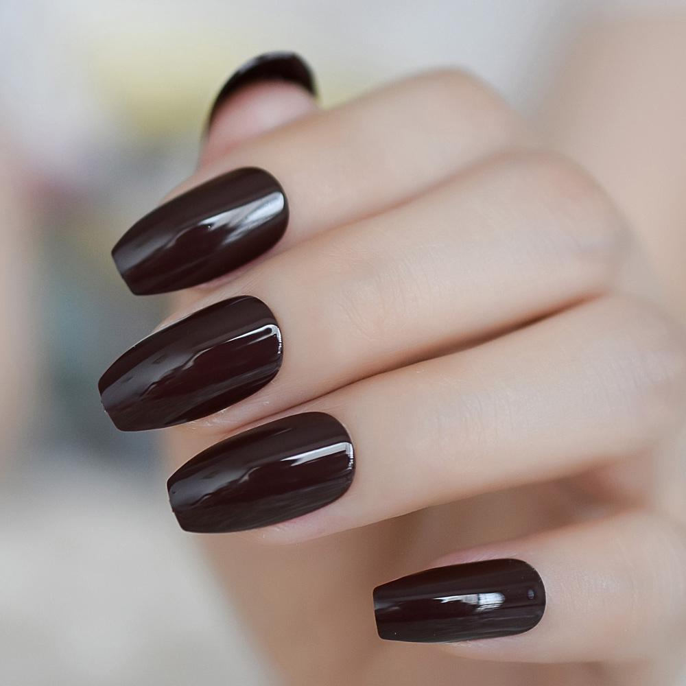 Solid Color Gel Fake Nails Loving Chocolate Ballerina Nails Shiny Brown  Press On